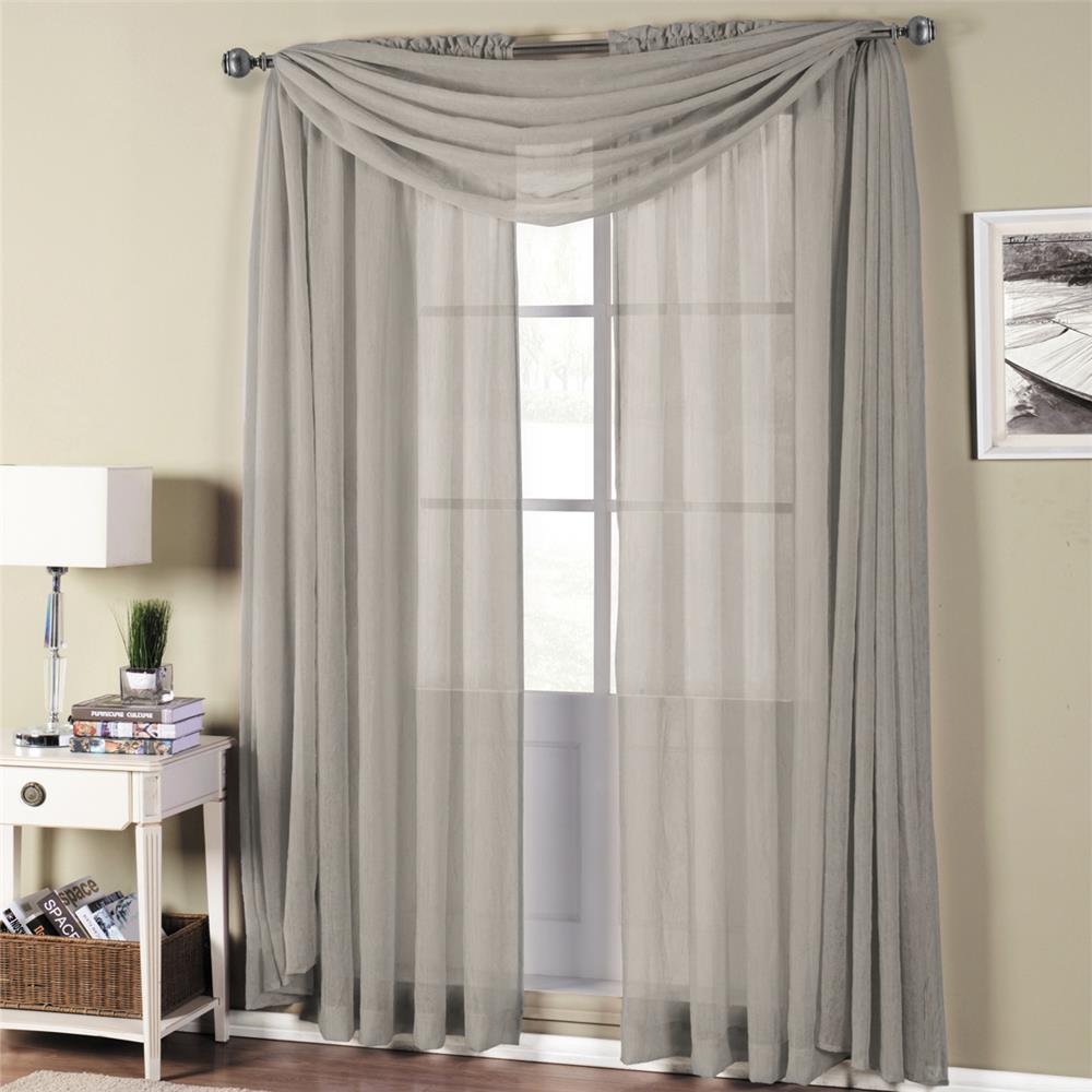 "Egyptian Linens 289-799 Gray Abri Rod Pocket Crushed Sheer Curtain Panel 50"" X 216"" Valance"