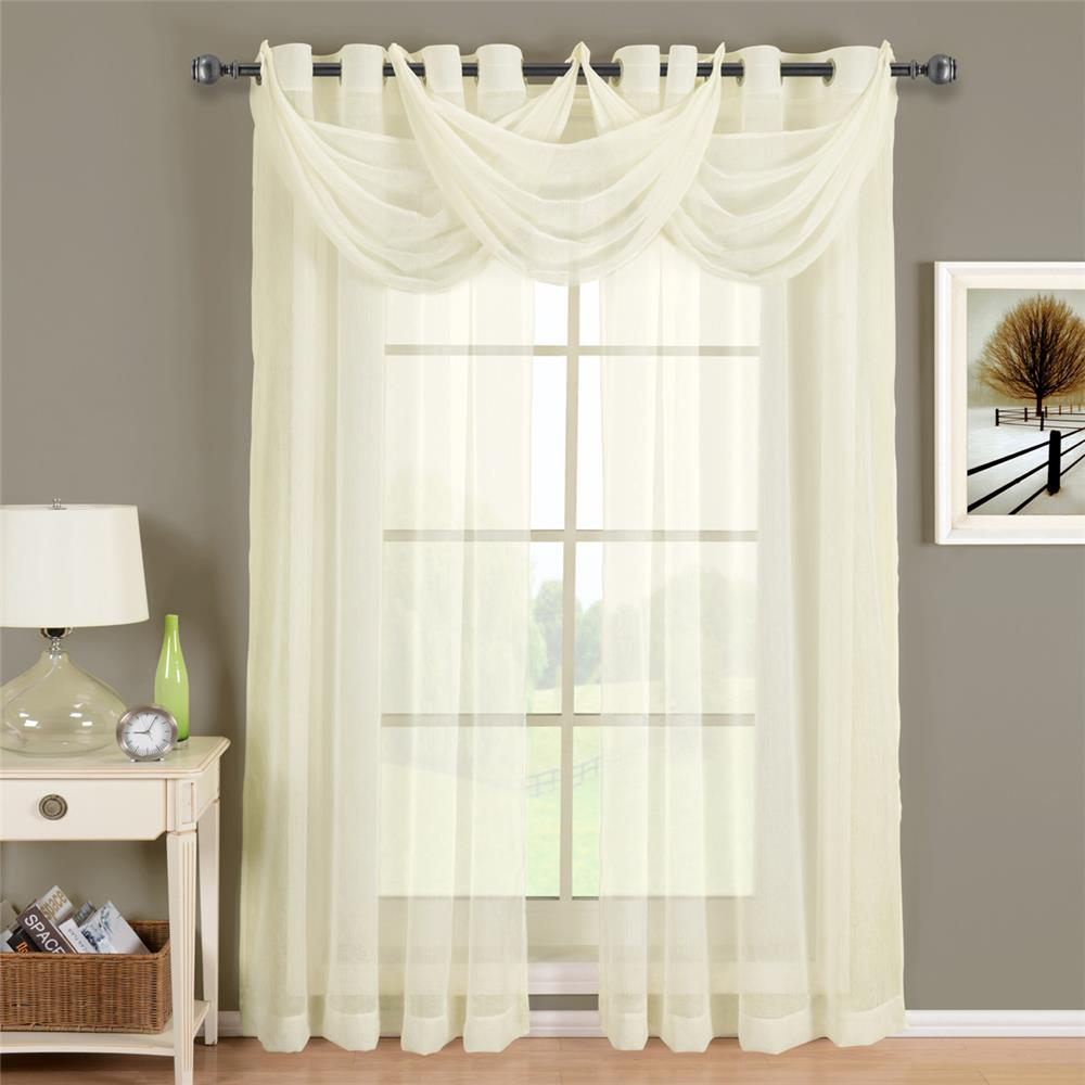 """Egyptian Linens 276-850 IVORY Abri Grommet Crushed Sheer Curtain Panel 24"""" X 24"""" Valance"""