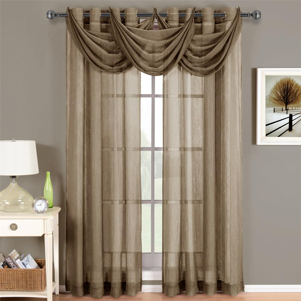 "Egyptian Linens 276-835 MOCHA Abri Grommet Crushed Sheer Curtain Panel 24"" X 24"" Valance"