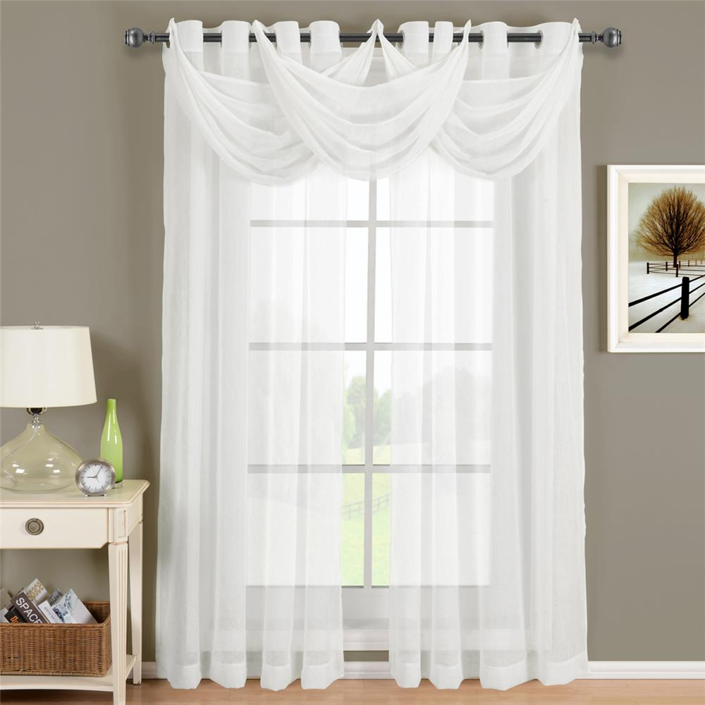 "Egyptian Linens 276-820 WHITE Abri Grommet Crushed Sheer Curtain Panel 24"" X 24"" Valance"