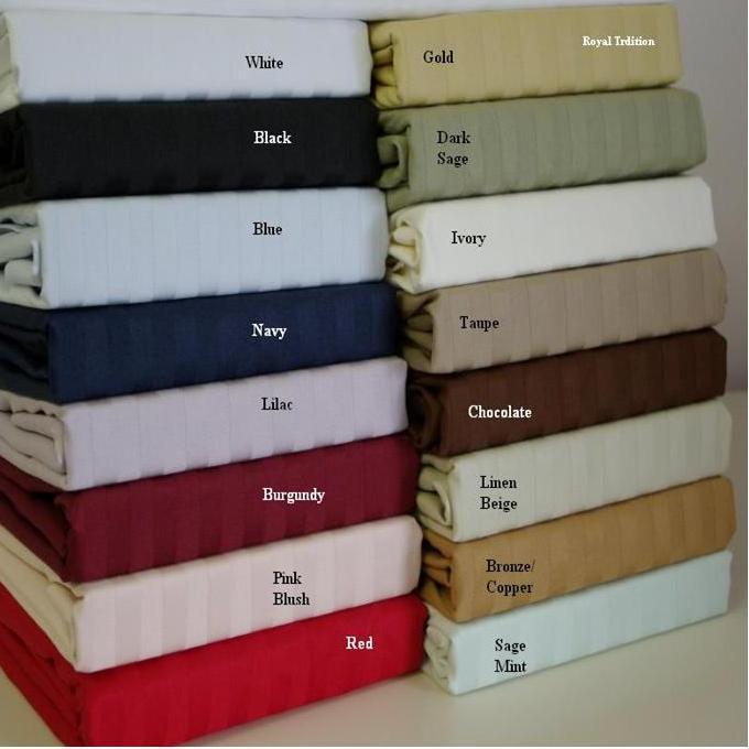 Egyptian Linens 249-1435 SAGE 600 Thread count Stripe Egyptian cotton King pillowcases Pair
