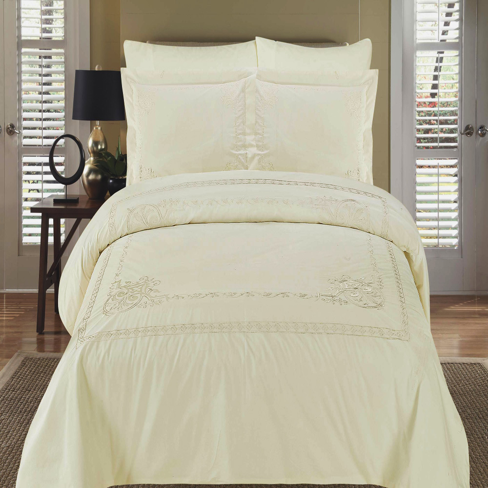 Egyptian Linens 159-2716 IVORY/IVORY EMBROIDERY Athena Embroidered Duvet cover Set