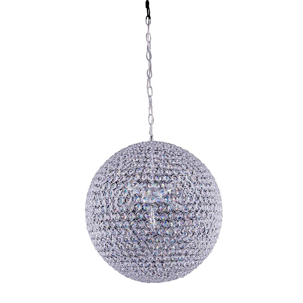 Elegant Lighting 2102D20C/RC 2102 Cabaret Collection Hanging Fixture Fixture D20in H20in Lt:9 Chrome Finish (Royal Cut Crystal )