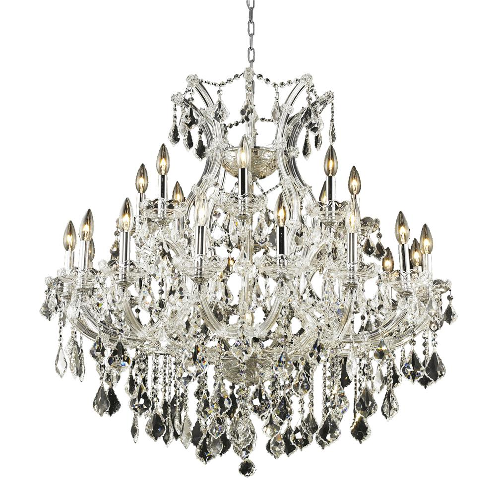 Elegant Lighting 2800D36C/RC Maria Theresa 24 Light Dining Chandelier in Chrome with Royal Cut Clear Crystal