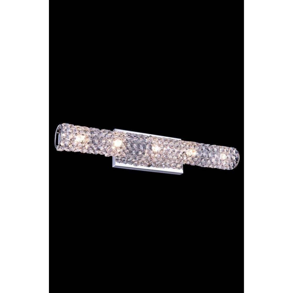 "Elegant Lighting 2911W24C/RC 2911 Holland Collection Wall Sconce D: 24"" H: 5"" Lt: 5 Chrome Finish (Royal Cut Crystals)"