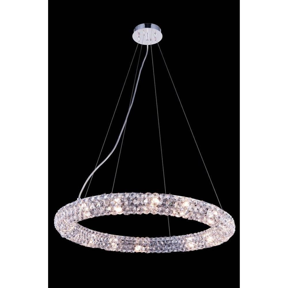 "Elegant Lighting 2912D24C/RC 2912 Halo Collection Hanging Fixture D: 24"" H: 3"" Lt: 16 Chrome Finish (Royal Cut Crystals)"