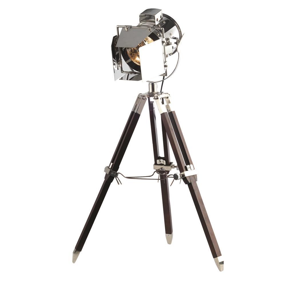 """Elegant Lighting FL1201 Ansel Tripod Floor Lamp D:6.5"""" H:31.5"""" Lt:1 Chrome & Brown Finish"""