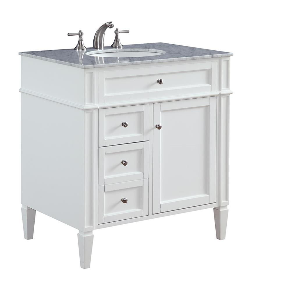 "Elegant Lighting VF-1024 Park Ave 32"" Single Bathroom Vanity set in White"