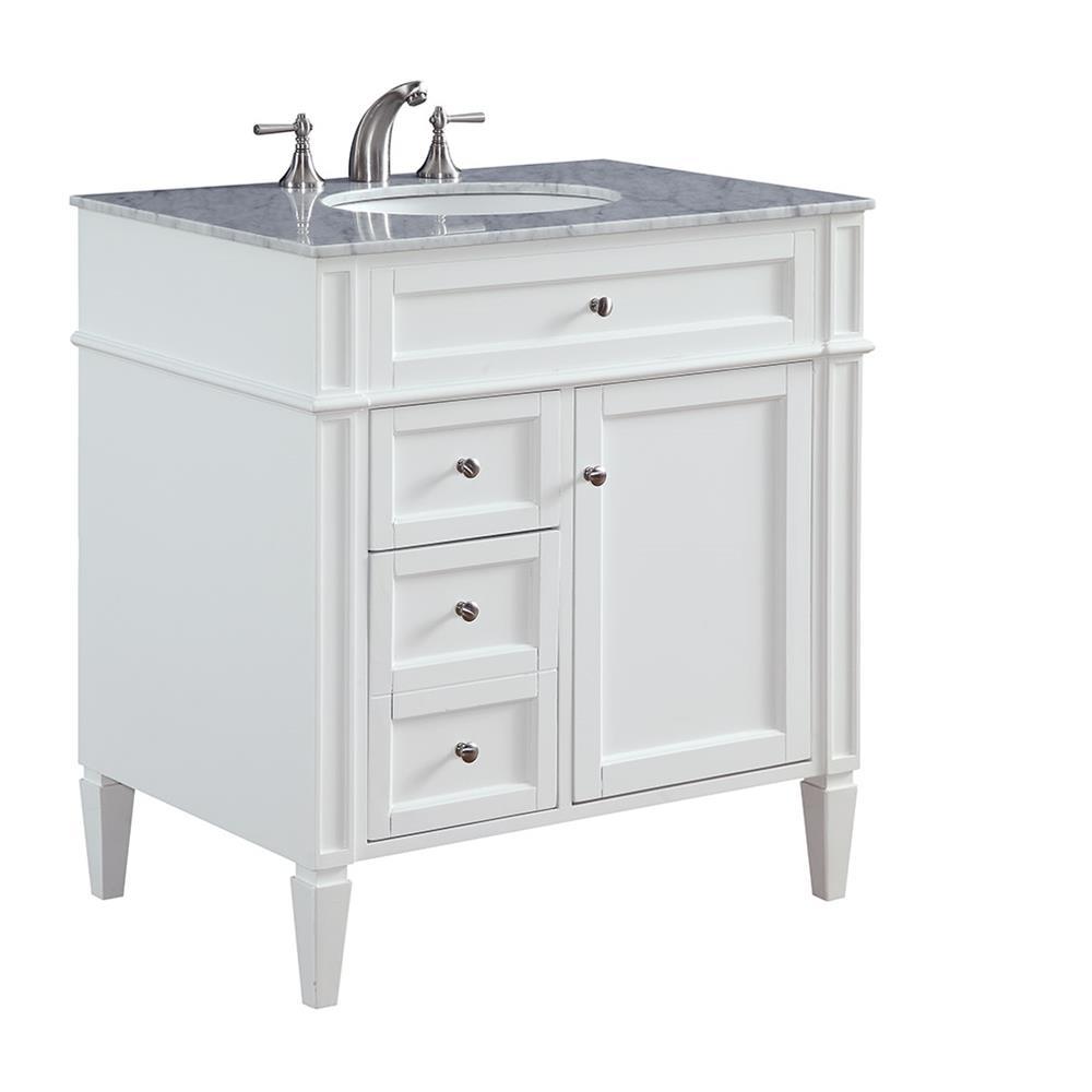 """Elegant Lighting VF-1024 Park Ave 32"""" Single Bathroom Vanity set in White"""