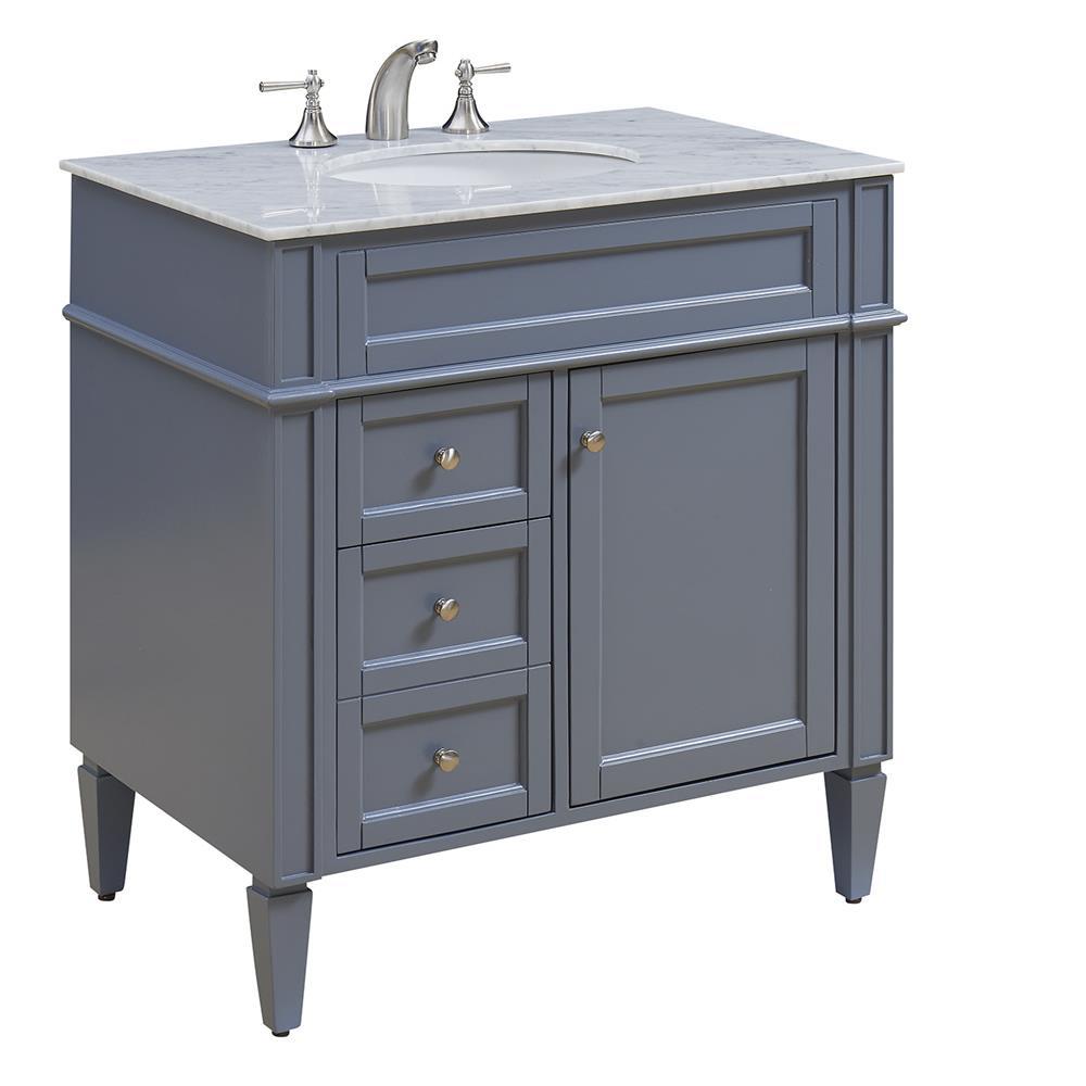 "Elegant Lighting VF-1025 Park Ave 32"" Single Bathroom Vanity set in Grey"