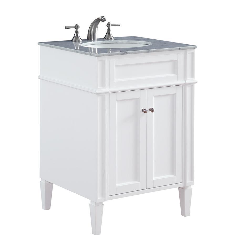 """Elegant Lighting VF-1026 Park Ave 24"""" Single Bathroom Vanity set in White"""