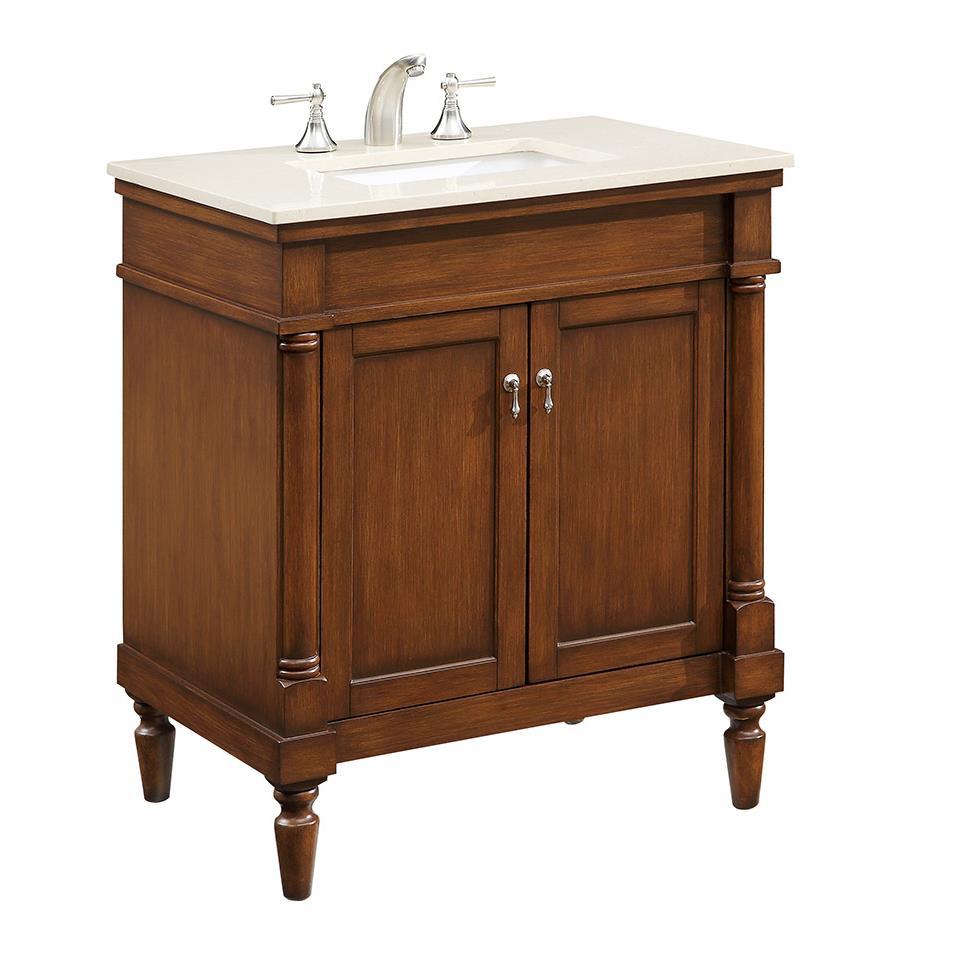 """Elegant Lighting VF-1030 Lexington 30"""" Single Bathroom Vanity set in Brown"""
