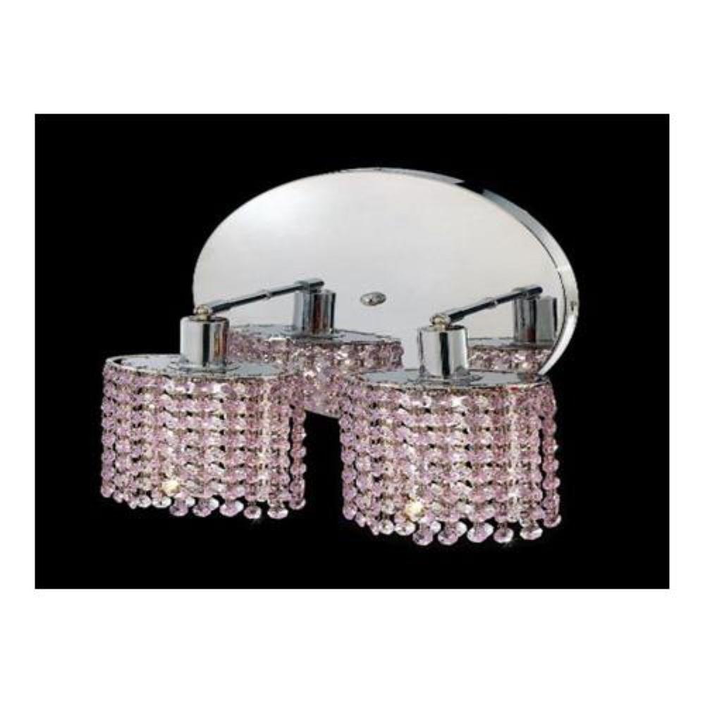 Elegant Lighting 1282W-R-R-RO/RC Mini 2 Light Wall Sconce in Chrome with Royal Cut Rosaline Crystal