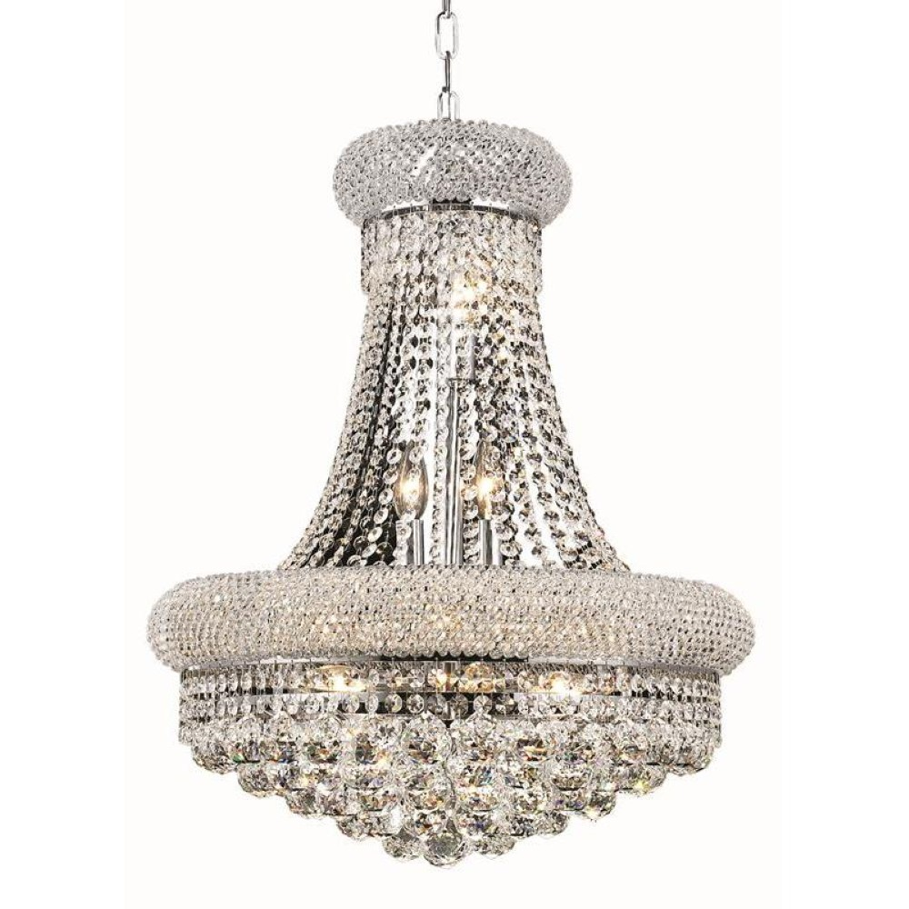 Elegant Lighting 1800D20C/RC Primo 14 Light Dining Chandelier in Chrome with Royal Cut Clear Crystal