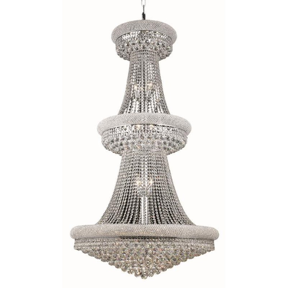 Elegant Lighting 1800G36C/RC Primo 32 Light Foyer in Chrome with Royal Cut Clear Crystal