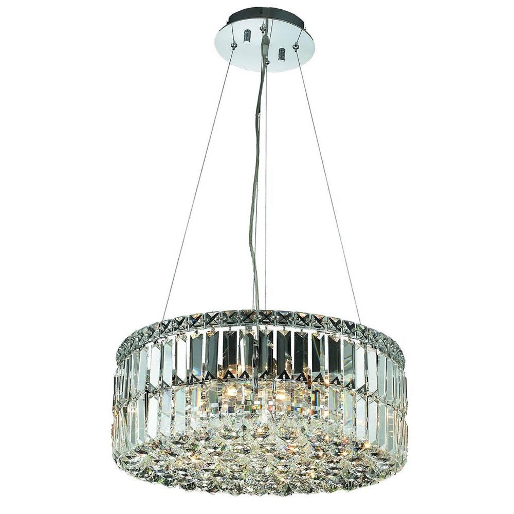 Elegant Lighting 2030D20C/RC Maxim 12 Light Dining Chandelier in Chrome with Royal Cut Clear Crystal