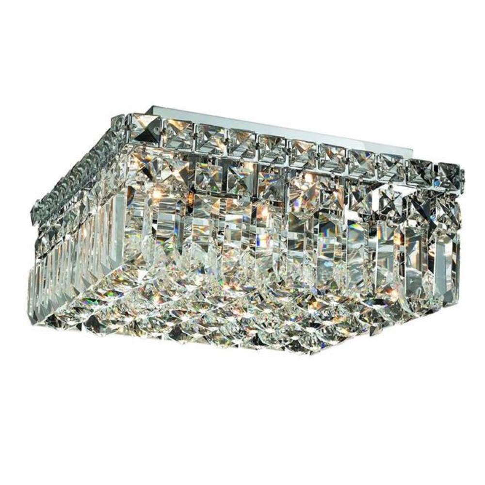 Elegant Lighting 2032F12C/RC Maxim 4 Light Flush Mount in Chrome with Royal Cut Clear Crystal