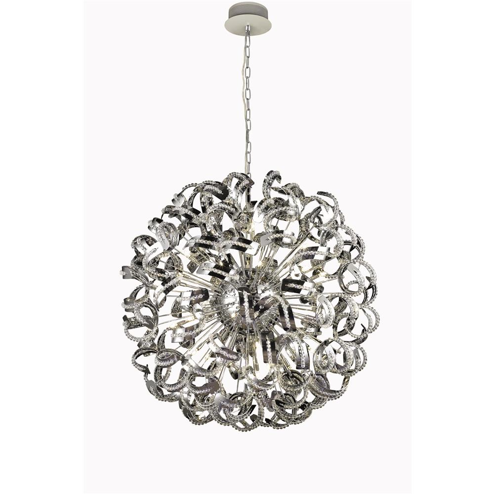 Elegant Lighting 2068G43C/EC Tiffany 30 Light Foyer/Hallway Light in Chrome with Elegant Cut Chrystals