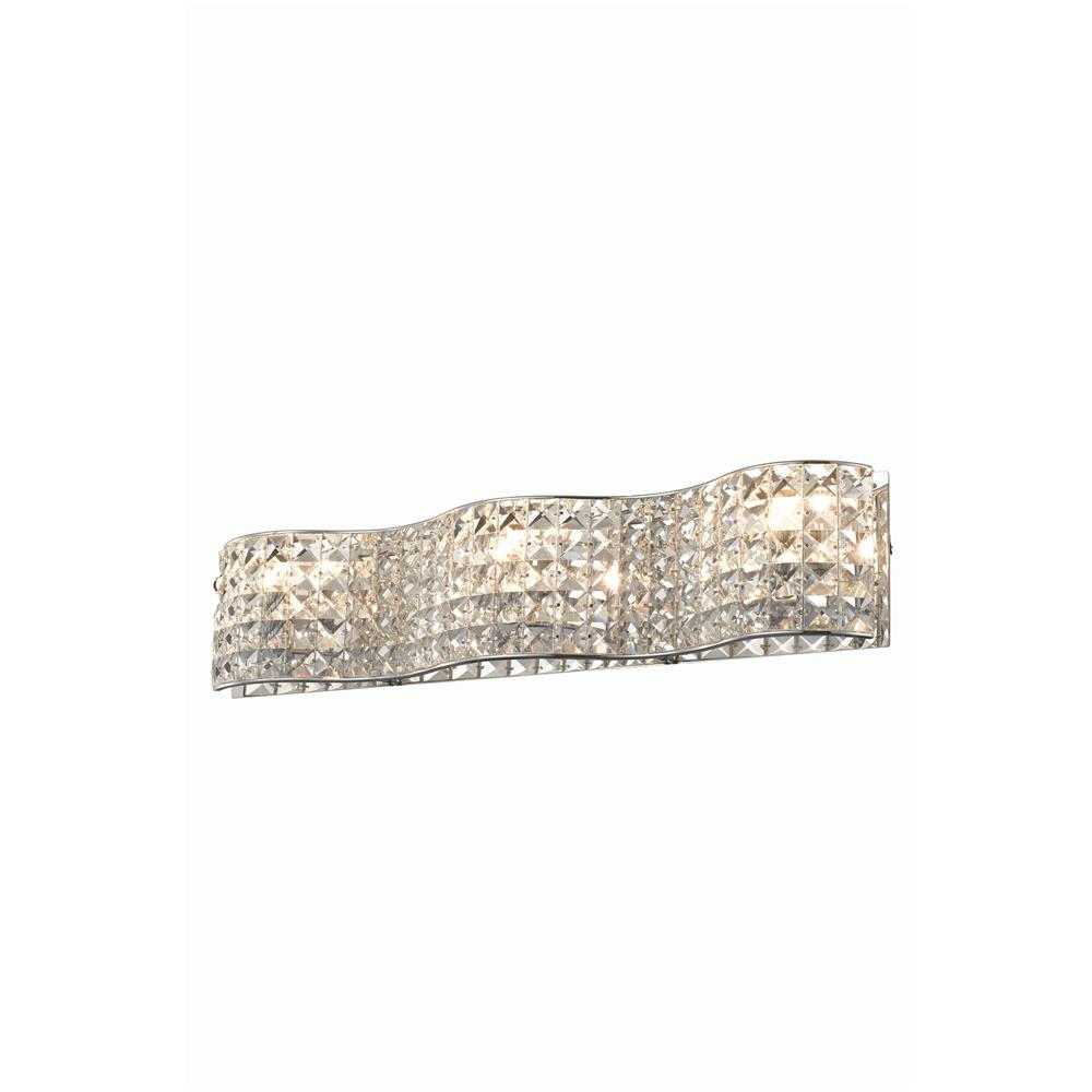 Elegant Lighting 2087W24C/EC Concept 3 Light Wall Sconce in Chrome with Elegant Cut Clear Crystal