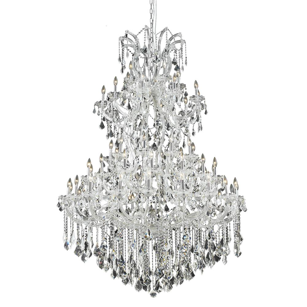 Elegant Lighting 2800G54C/RC Maria Theresa 61 Light Foyer in Chrome with Royal Cut Clear Crystal