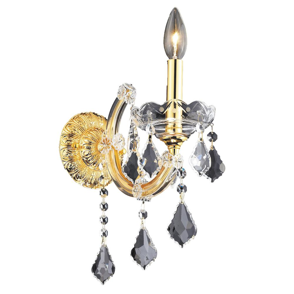 Elegant Lighting 2800W1G/SS Maria Theresa 1 Light Wall Sconce in Gold with Swarovski Strass Clear Crystal