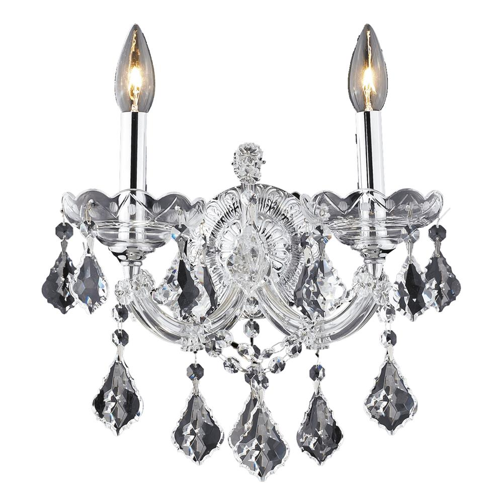 Elegant Lighting 2800W2C/SA Maria Theresa 2 Light Wall Sconce in Chrome with Spectra Swarovski Clear Crystal
