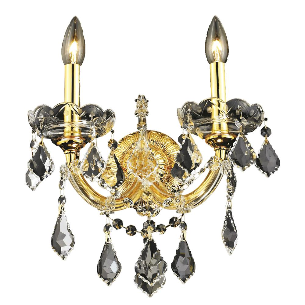Elegant Lighting 2800W2G/RC Maria Theresa 2 Light Wall Sconce in Gold with Royal Cut Clear Crystal