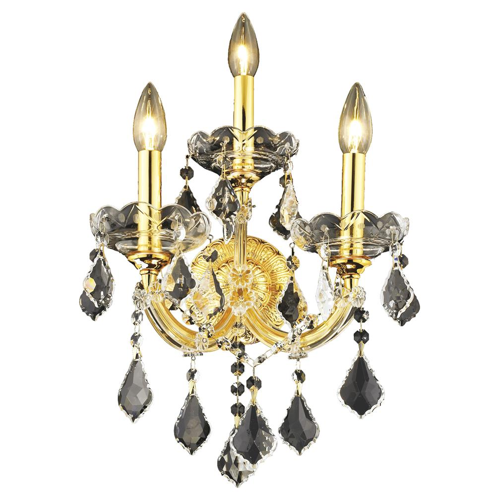 Elegant Lighting 2800W3G/EC Maria Theresa 3 Light Wall Sconce in Gold with Elegant Cut Clear Crystal