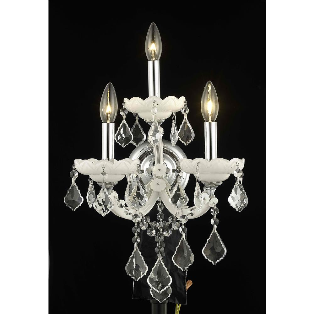 Elegant Lighting 2800W3WH/EC Maria Theresa 3 Light Wall Sconce in White with Elegant Cut Chrystals