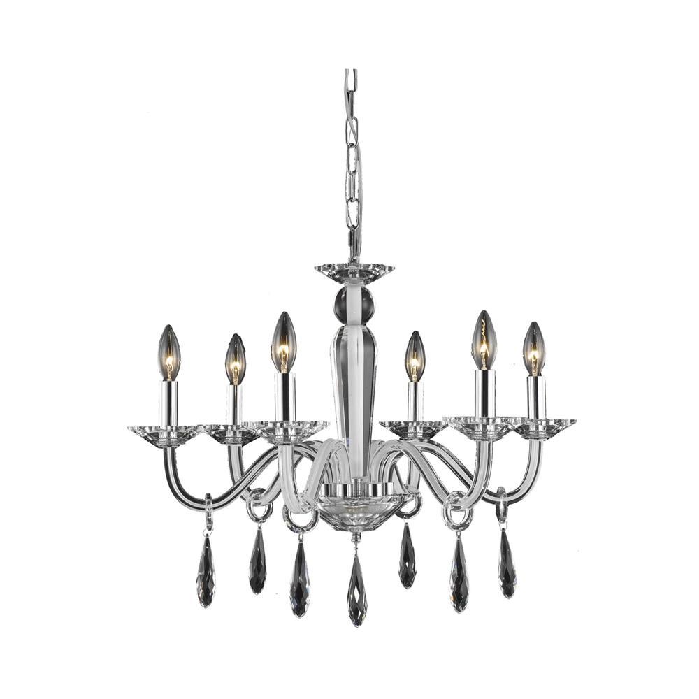 Elegant Lighting 6906D23WH/EC Avalon 6 Light Dining Chandelier in White with Elegant Cut Clear Crystal