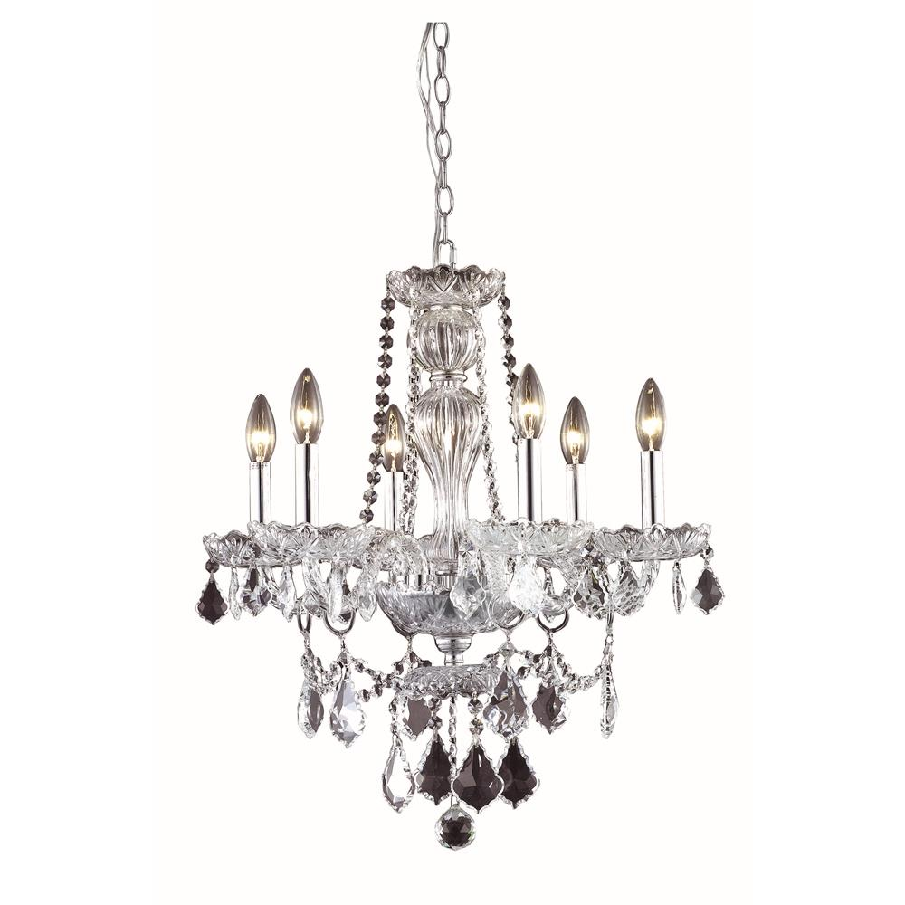 Elegant Lighting 7896D21C/RC Giselle 6 Light Dining Chandelier in Chrome with Royal Cut Clear Crystal