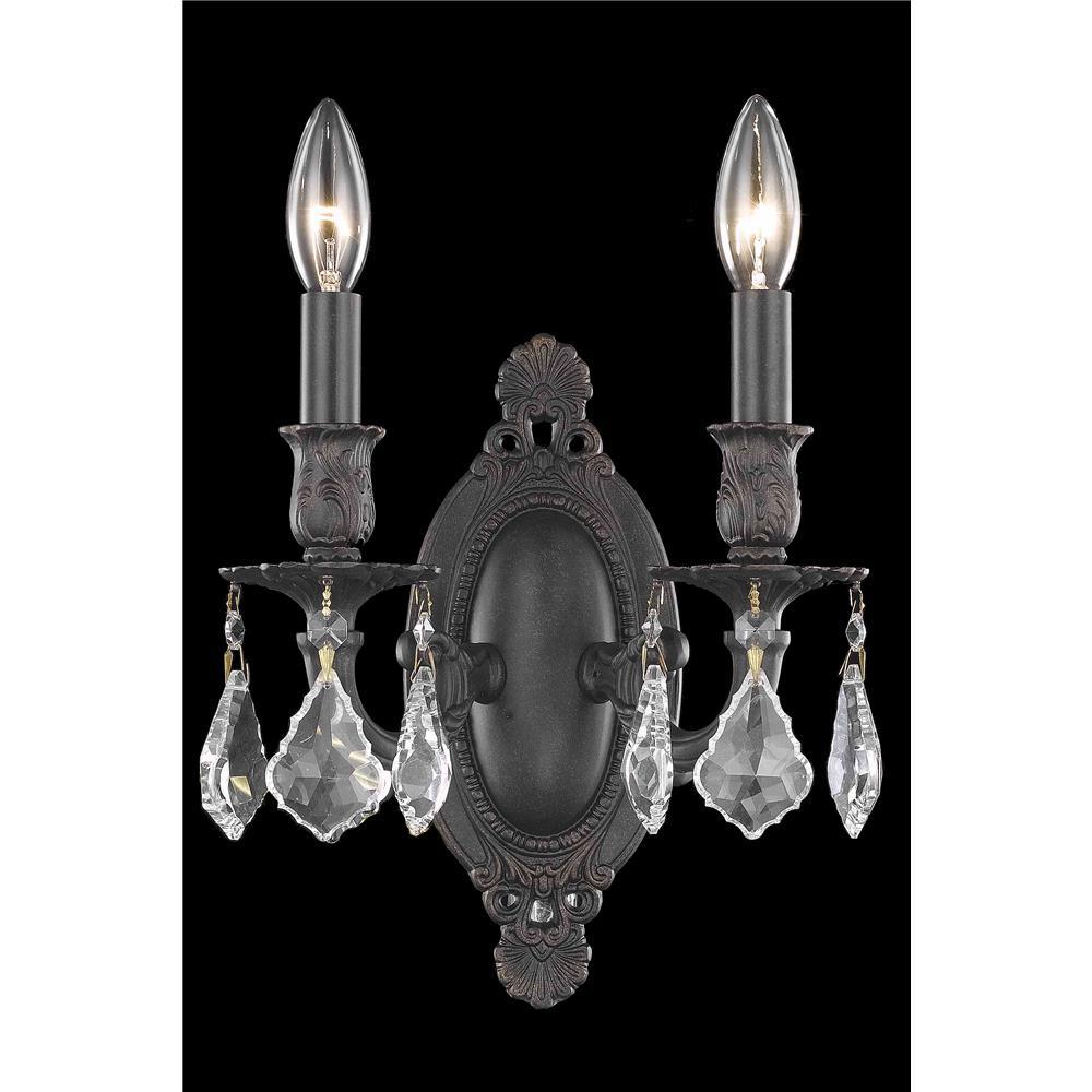 Elegant Lighting 9202W9DB/EC Rosalia 2 Light Wall Sconce in Dark Bronze with Elegant Cut Clear Crystal