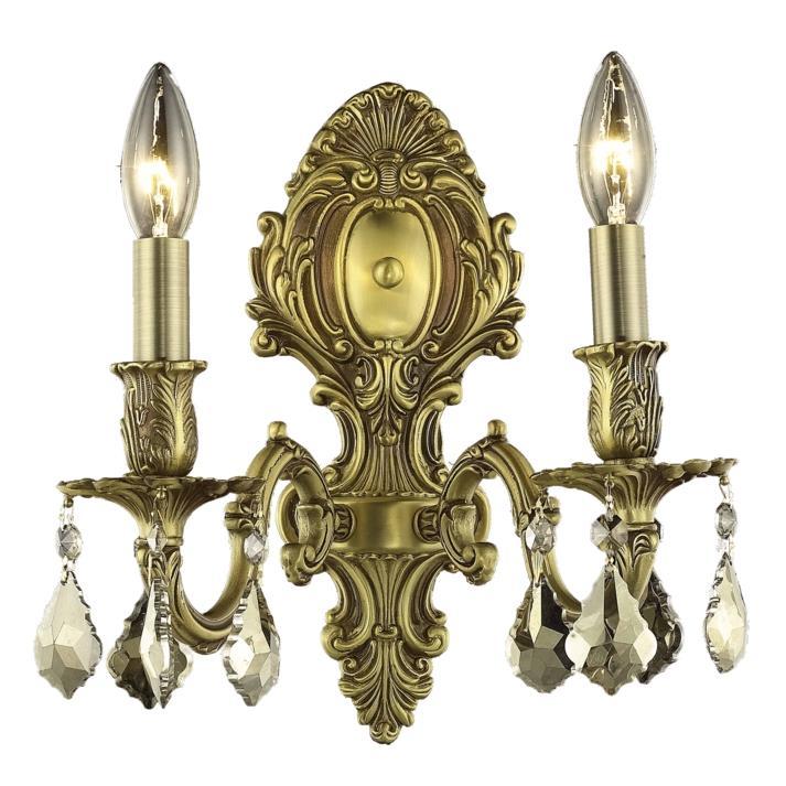 Elegant Lighting 9602W10FG-GT/SS Monarch 2 Light Wall Sconce in French Gold with Swarovski Strass Golden Teak Crystal