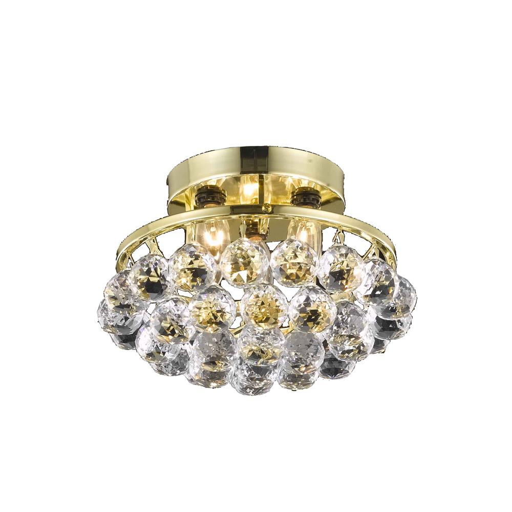 Elegant Lighting 9805F10G/RC Corona 3 Light Flush Mount in Chrome with Royal Cut Clear Crystal