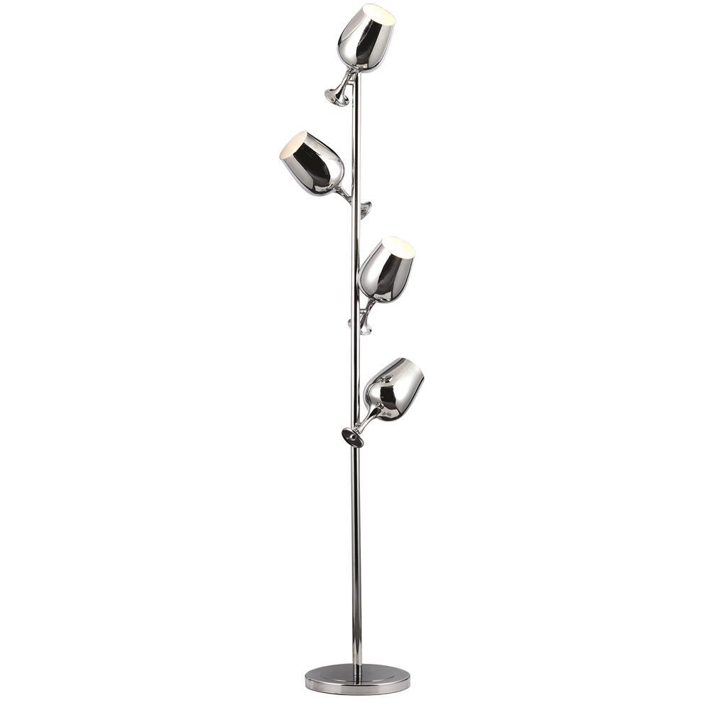 """Elegant Lighting FL1249 Vintage Task  Floor Lamp L:11"""" W:5"""" H:67"""" Lt:4 Chrome Finish"""