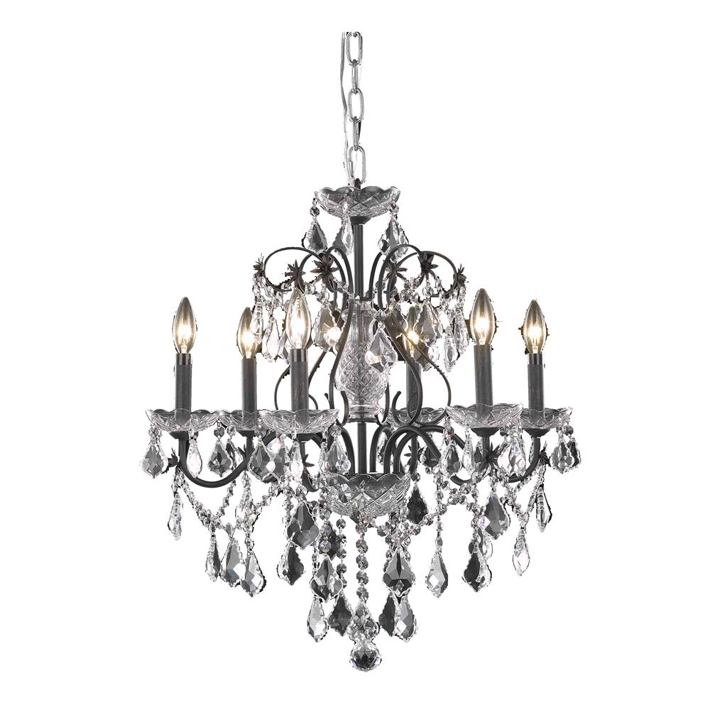 Elegant Lighting 2015D24DB/RC St. Francis 6 Light Dining Chandelier in Dark Bronze with Royal Cut Clear Crystal