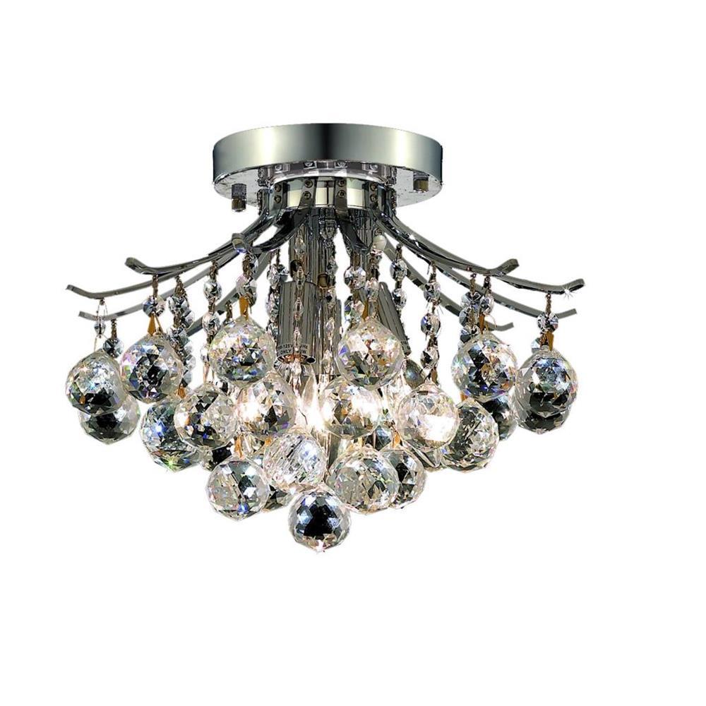 Elegant Lighting 8000F12C/RC Toureg 3 Light Flush Mount in Chrome with Royal Cut Clear Crystal