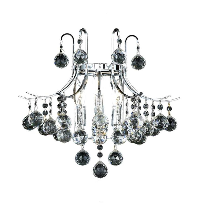 Elegant Lighting 8000W16C/RC Toureg 3 Light Wall Sconce in Chrome with Royal Cut Clear Crystal