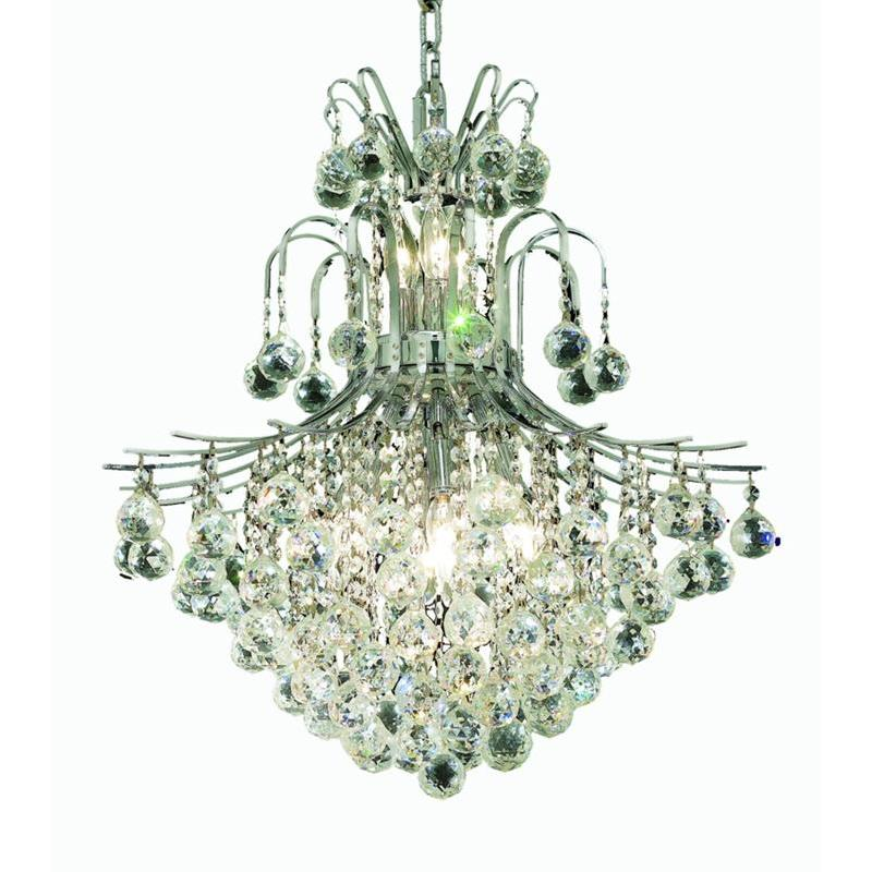 Elegant Lighting 8002D22C/RC Toureg 11 Light Dining Chandelier in Chrome with Royal Cut Clear Crystal
