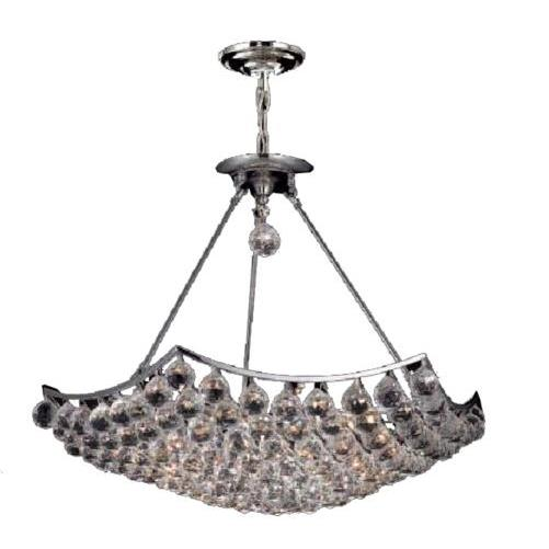 Elegant Lighting 9802D26C/RC Corona 12 Light Dining Chandelier in Chrome with Royal Cut Clear Crystal