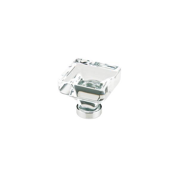 Emtek 86403US15 Lido Square Crystal Cabinet Knob in Satin Nickel