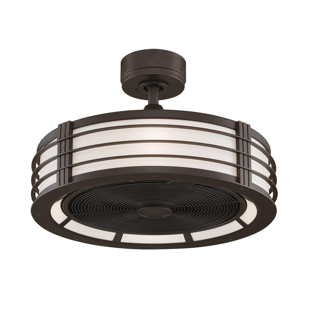 Fanimation FP7964OB Beckwith: Oil-Rubbed Bronze, Cream Shade, Black Blade