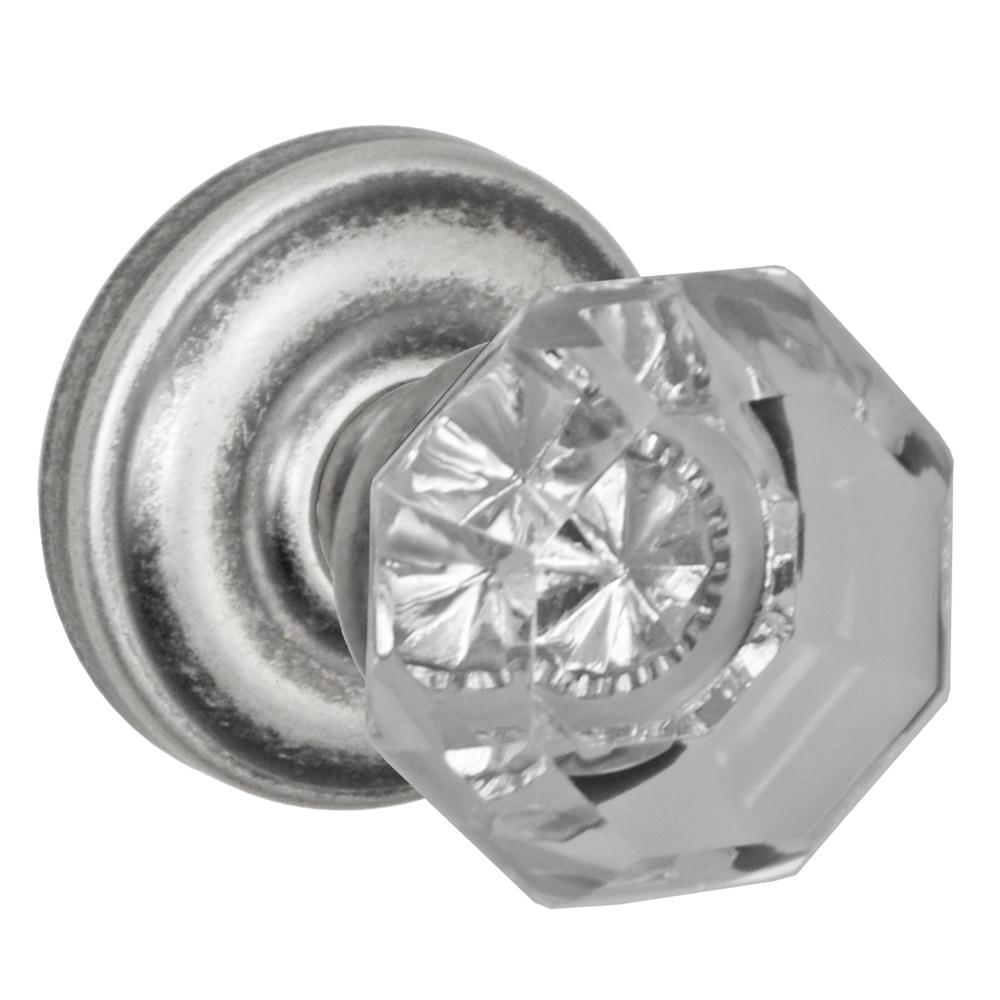Fusion Hardware D-16-A5-E-ATP Victorian Clear Glass Knob Dummy Single with Ketme Rose in Antique Pewter