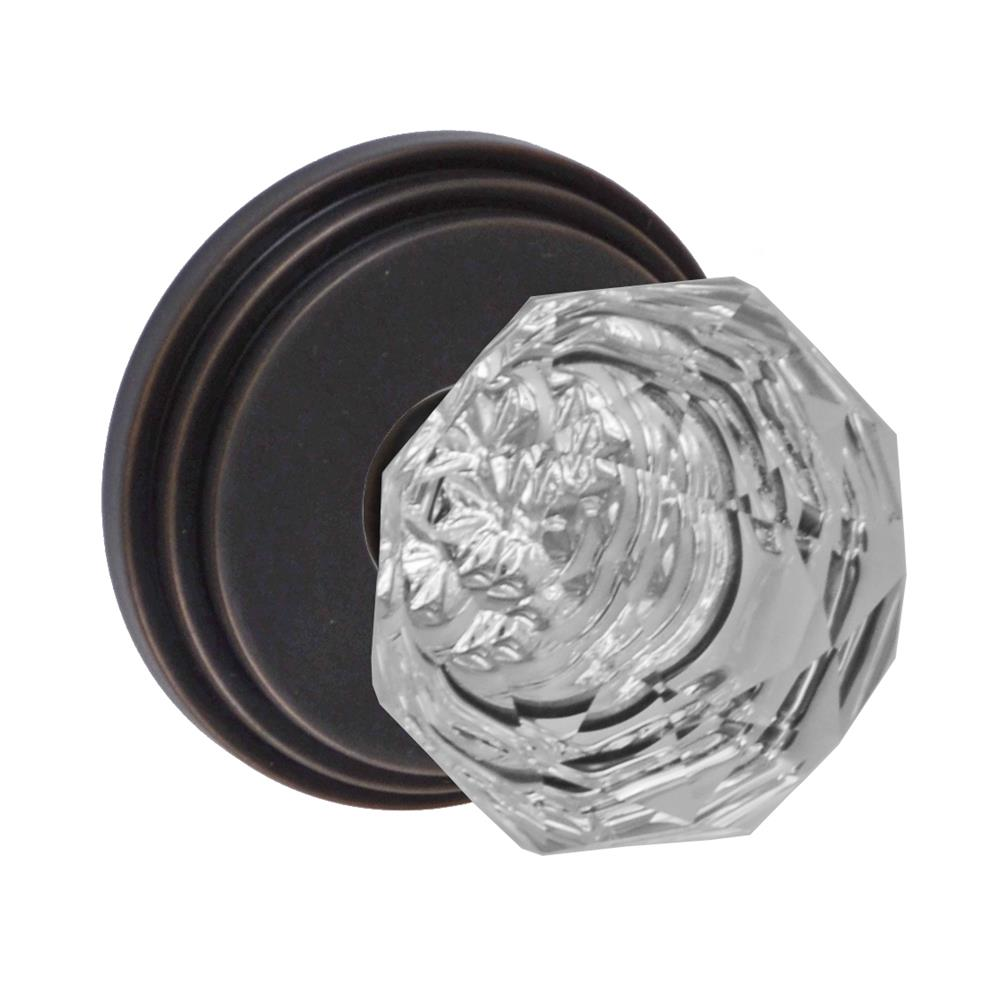 Fusion Hardware D-21-B1-E-ORB Crystal Clear Knob with Stepped  Rose Dummy Single in Oil Rubbed Bronze