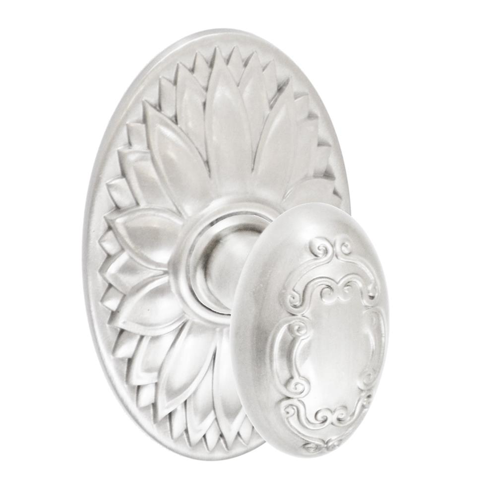 Fusion Hardware D-34-D9-E-BRN Scroll Egg Knob with Oval Floral Rose Dummy Single in Brushed Nickel