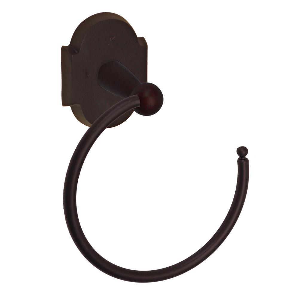 Fusion Hardware TR-A3-DKB River Rock Towel Ring with Sandcast Bronze Scalloped Trim in Dark Bronze