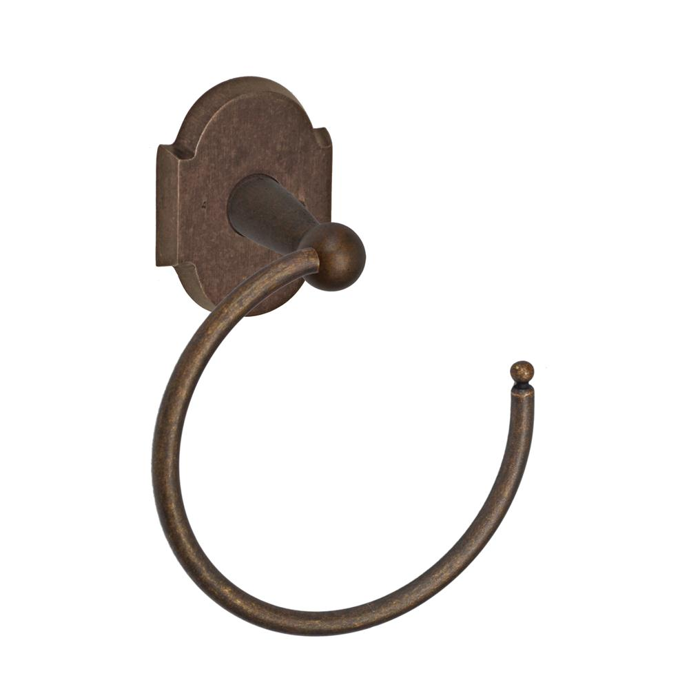 Fusion Hardware TR-A3-MXB River Rock Towel Ring with Sandcast Bronze Scalloped Trim in Sandcast Medium Bronze