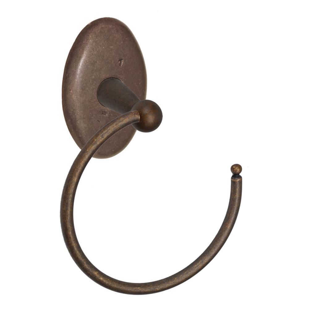 Fusion Hardware TR-C6-MXB River Rock Towel Ring with Sandcast Bronze Oval Trim in Sandcast Medium Bronze