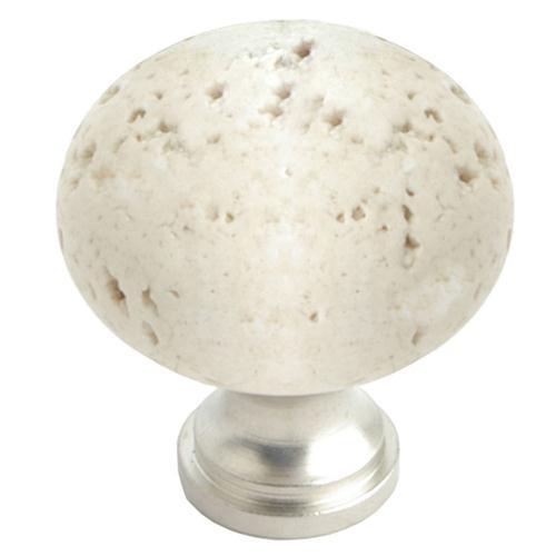 Giagni KB-GR-TRAV QMI, 1 1/4 in. Round Knob - Travertine Marble