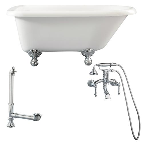 "Giagni LA1-PC Augusta 54"" Roll Top Tub Kit White, with Ball & Claw Feet, Drain, and Wall Mount Faucet with Lever Handles, Polished Chrome"